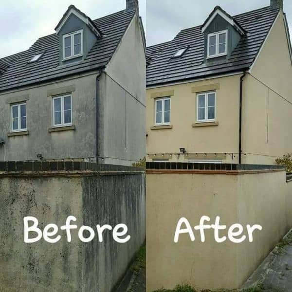 render cleaning Cardiff before and after