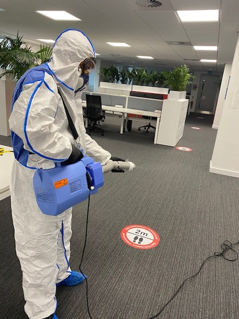 james fogging in cardiff office covid cleaning